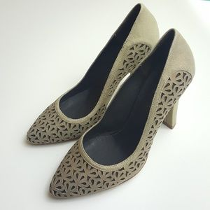 French Connection Suede Heels Bronze/Gray 7